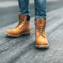 Lace-Up Boots in Light Brown